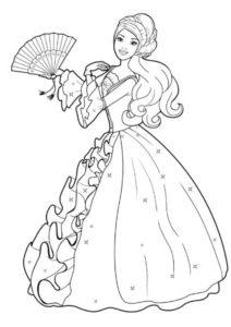 Кукла в бальном платье - Барби бесплатная раскраска