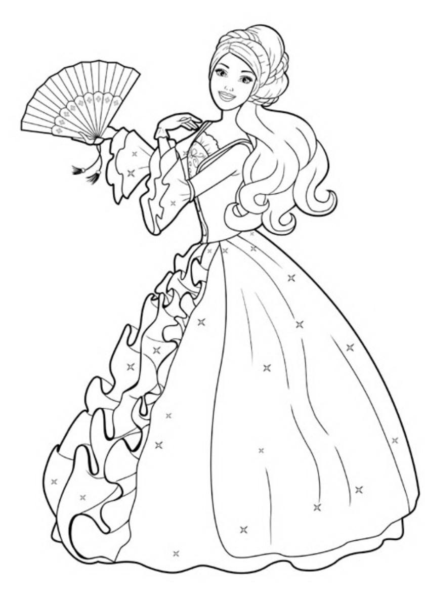 Раскраска Кукла в бальном платье распечатать | Барби