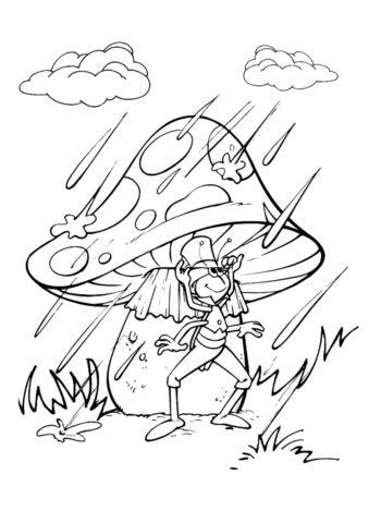 Бесплатная разукрашка для печати и скачивания Кузнечик под грибком - Осень