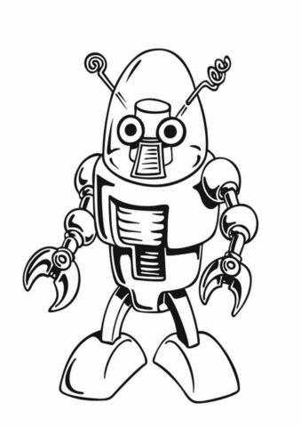 Ламповый робот (Роботы) бесплатная раскраска на печать
