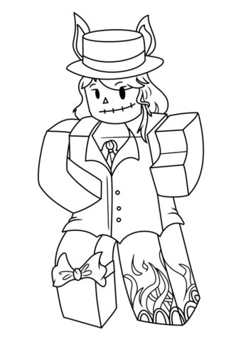 Бесплатная раскраска Леди в хэллоуинском костюме распечатать и скачать - Роблокс