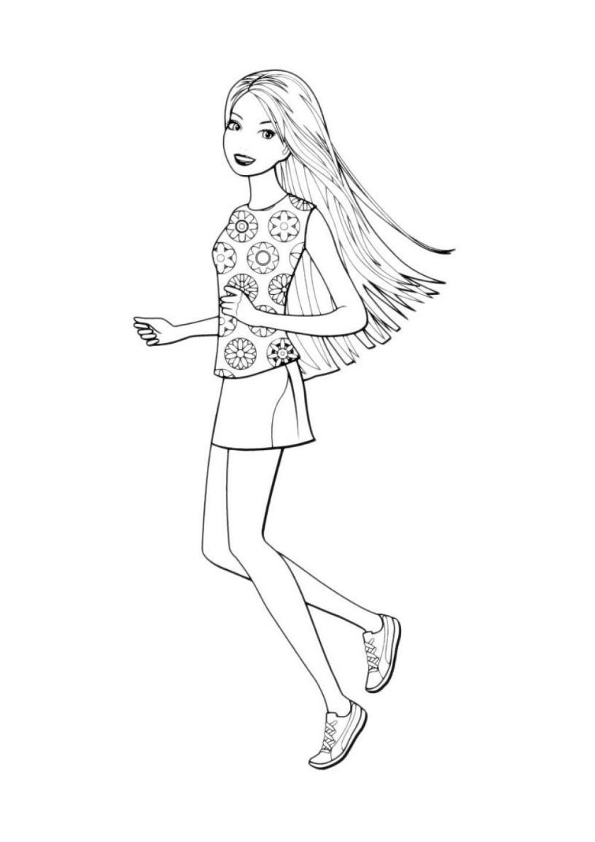 Раскраска Легкая пробежка распечатать | Барби
