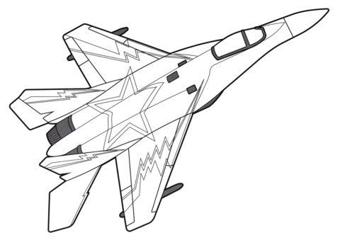 Раскраска Легкий истребитель МиГ-35 - Самолеты