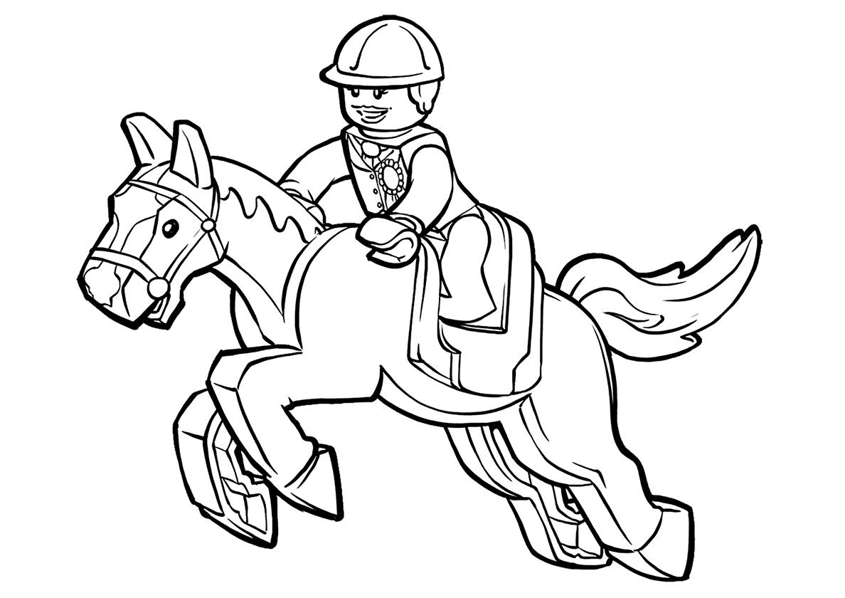 Раскраска Лего жокей распечатать | Лошади и пони