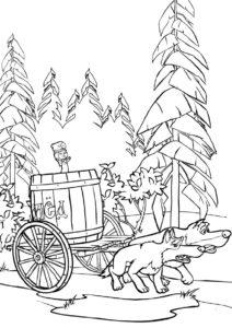 Распечатать раскраску Лекарство для медведя - Маша и Медведь