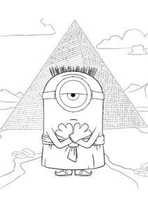 Распечатать раскраску Лэнс на фоне пирамиды - Миньоны