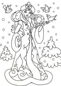 Зима бесплатная раскраска распечатать на А4 - Лесная снегурочка