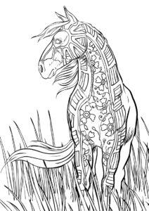 Летний конь раскраска распечатать бесплатно на А4 - Лошади и пони