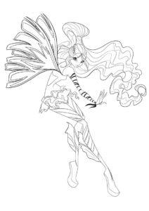 Лейла использует магию - Клуб Винкс - бесплатная раскраска