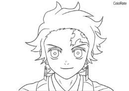 Раскраски из аниме «Клинок, рассекающий демонов» бесплатная раскраска распечатать на А4 - Лицо Камадо