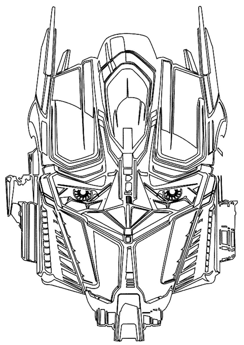 Раскраска Лицо Прайма распечатать | Трансформеры