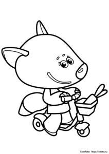 Раскраска Лисичка на самокате распечатать на А4 - Ми-ми-мишки