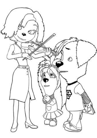 Барбоскины распечатать раскраску - Лиза и Дружок выпрашивают подарки