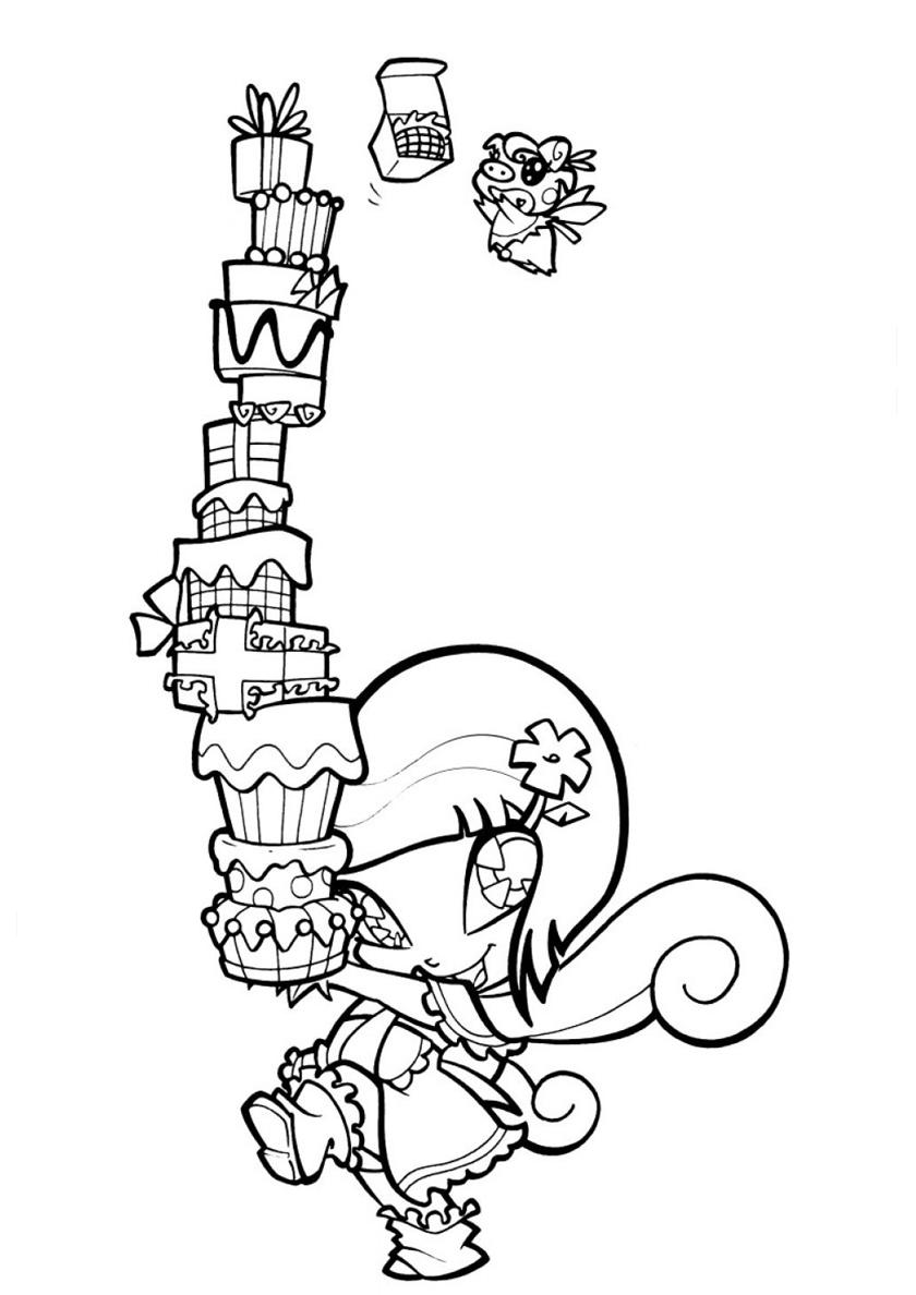 Раскраска Локетт с подарками распечатать | Винкс / Winx
