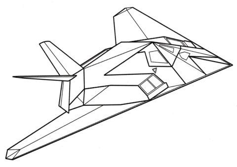 Самолеты бесплатная разукрашка - Локхид F-117 Козодой