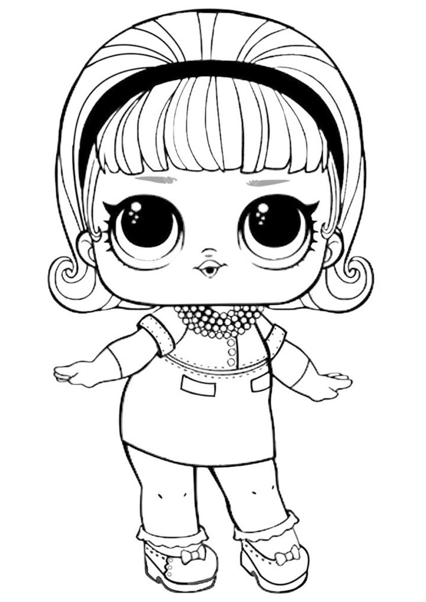 Раскраска ЛОЛ Мадам Королева распечатать | L.O.L Confetti Pop