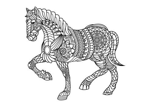 Бесплатная разукрашка для печати и скачивания Лошадь антистресс - Лошади и пони