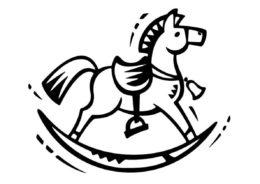 Лошади и пони распечатать раскраску на А4 - Лошадка-качалка