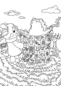 Лунтик бесплатная раскраска распечатать на А4 - Лоскутное одеяльце
