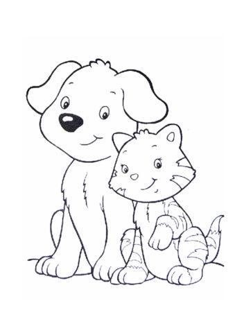 Лучшие друзья - собака и кот распечатать раскраску - Собаки и щенки