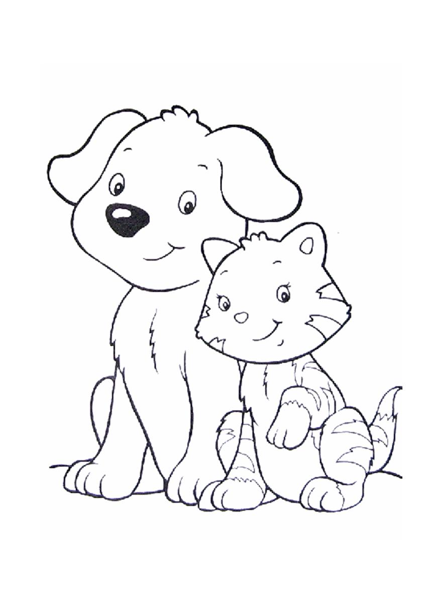 Раскраска Лучшие друзья - собака и кот распечатать ...