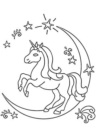 Лунная дорога (Единороги) распечатать раскраску