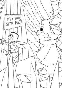 Лунтик бесплатная раскраска - Лунтик с Пчеленком у домика Шнюка