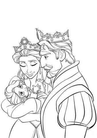 Бесплатная разукрашка для печати и скачивания Любимая дочка - Рапунцель
