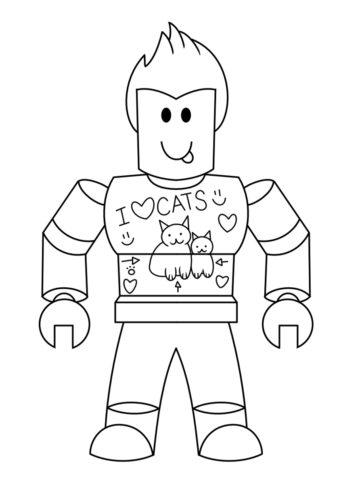 Бесплатная раскраска Любитель кошек распечатать на А4 - Роблокс
