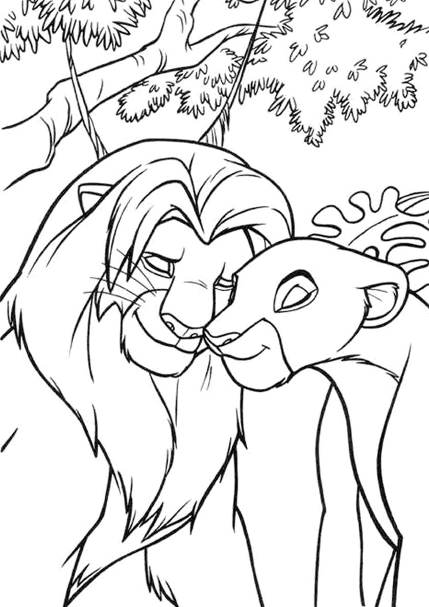 Раскраска Любовь Симбы и Налы распечатать   Король Лев