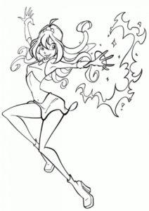 Блум бесплатная раскраска распечатать на А4 - Магическое пламя