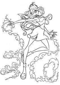 Магия пламени дракона раскраска распечатать на А4 - Блум