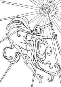 Раскраска Магия солнца распечатать и скачать - Стелла