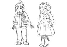 Разукрашка Мальчик и девочка распечатать на А4 и скачать - Зима