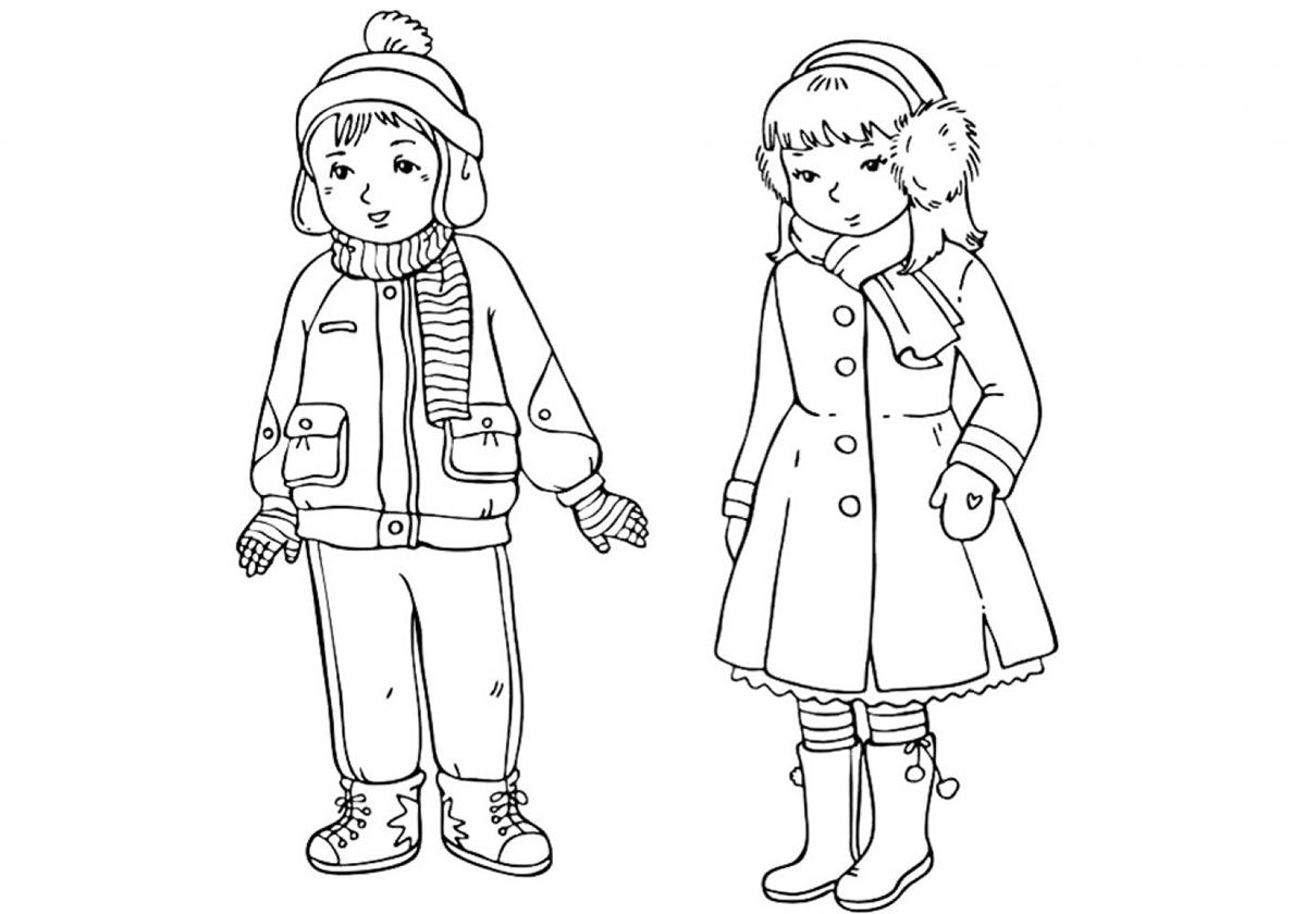 Раскраска Мальчик и девочка распечатать | Зима