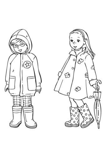 Весна бесплатная раскраска - Мальчик и девочка