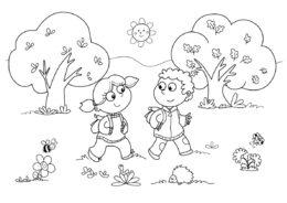 Мальчик и девочка гуляют на природе (Осень) бесплатная раскраска на печать