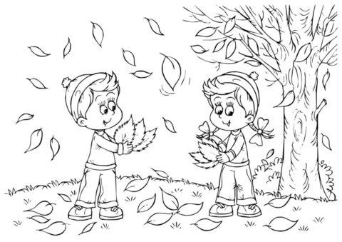 Осень распечатать раскраску - Мальчик и девочка собирают букет из листьев