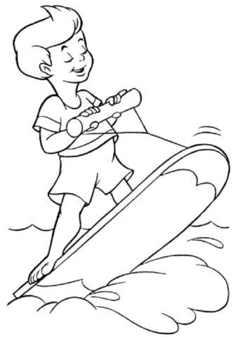 Мальчик катается на серфе распечатать и скачать раскраску - Лето