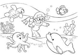 Раскраска Мальчик ныряет в подводное царство распечатать на А4 и скачать - Лето