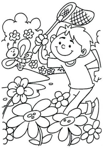 Весна распечатать раскраску - Мальчик с сачком