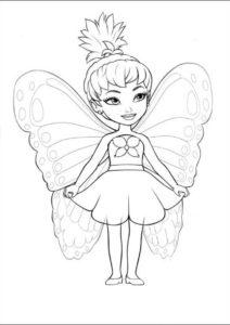 Маленькая бабочка (Барби) бесплатная раскраска на печать