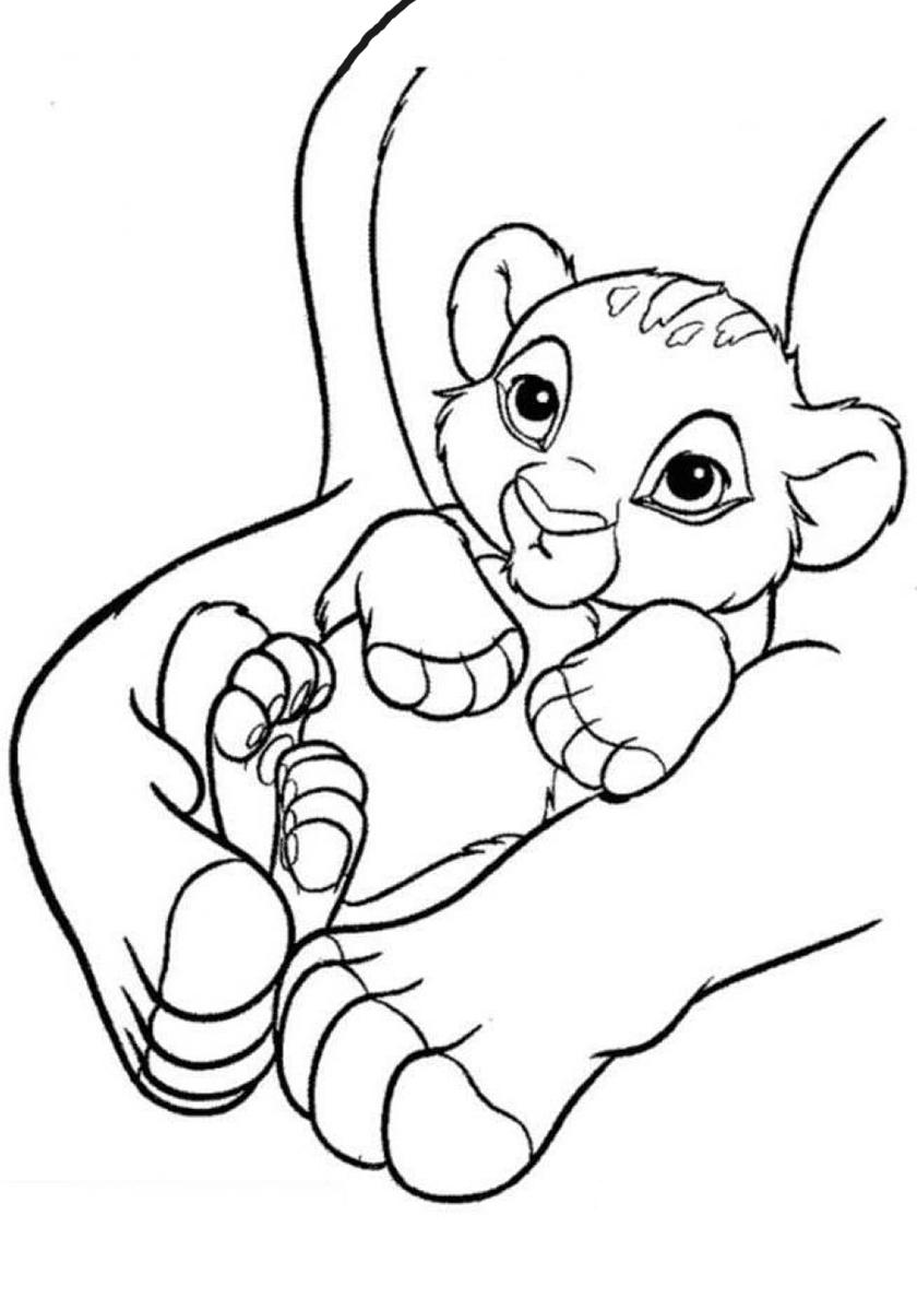 Раскраска Маленький львенок распечатать | Король Лев