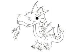 Разукрашка Маленький огнедышащий дракон распечатать на А4 и скачать - Драконы