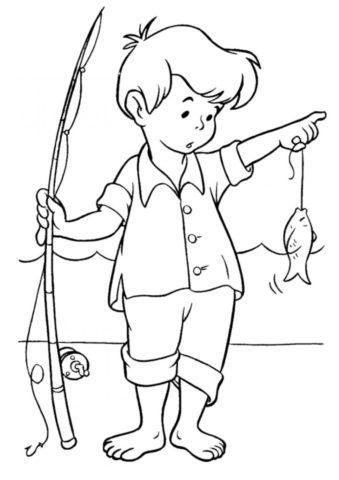 Лето распечатать раскраску - Маленький рыбак поймал рыбку