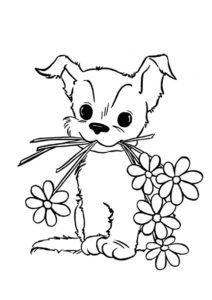 Собаки и щенки распечатать раскраску на А4 - Маленький щенок с цветами в подарок