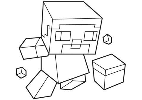 Маленький Стив (Майнкрафт) распечатать бесплатную раскраску