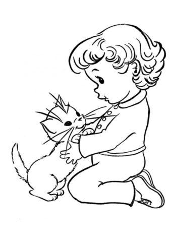 Бесплатная раскраска Малыш и котенок распечатать на А4 - Коты, кошки, котята