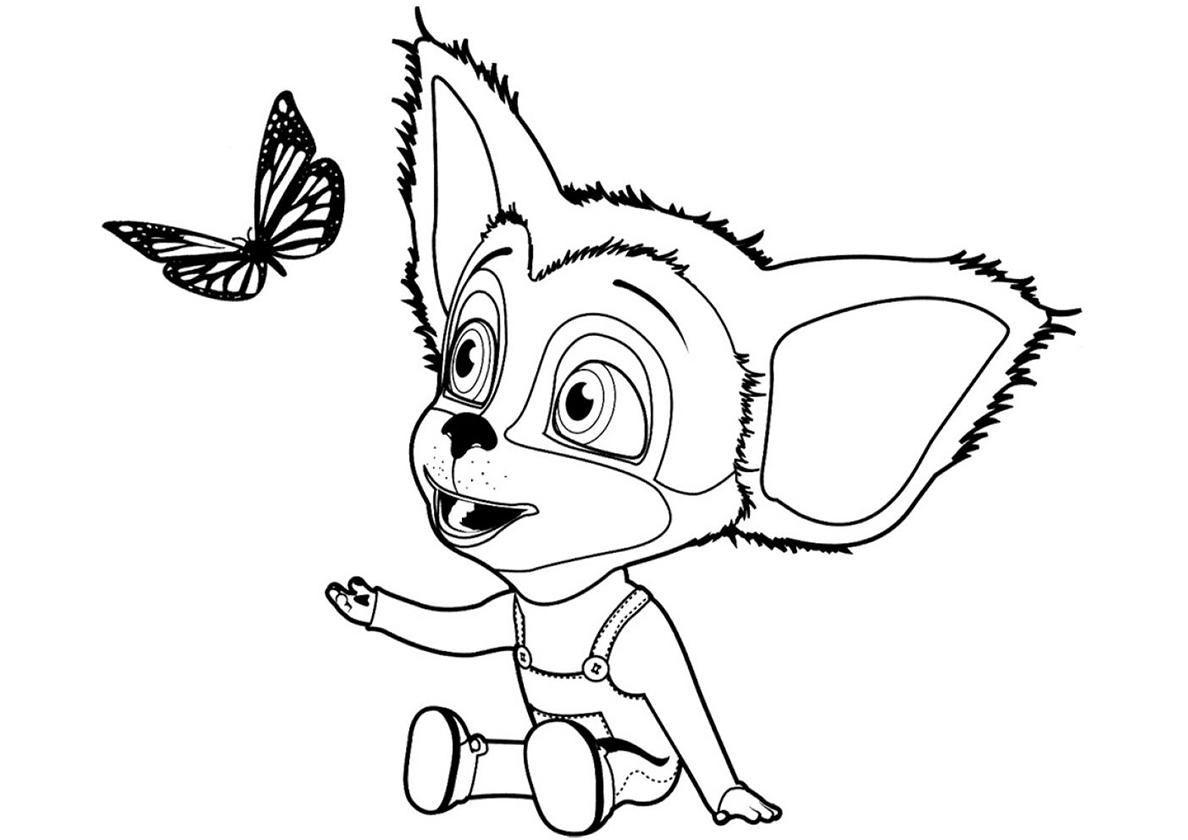 Раскраска Малыш играет с бабочкой распечатать   Барбоскины