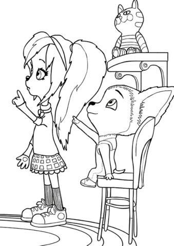 Малыш показывает что-то Розе распечатать раскраску - Барбоскины